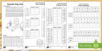 KS2 Pancake Day Codebreaker Differentiated Worksheet / Activity Sheet - Code, Addition, Subtraction, Multiplication, Division, Y3, Y4, Y5, Y6, worksheet