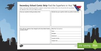 Secondary School Superhero Comic Strip  - Secondary Transition Resources, comic strip, superhero, induction, taster day, display