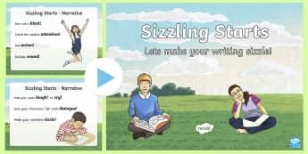 Sizzling Starts Narrative Writing PowerPoint-Australia - Sizzing Starts, Narrative writing, creative writing, writinf prompts, story openers, australia writi