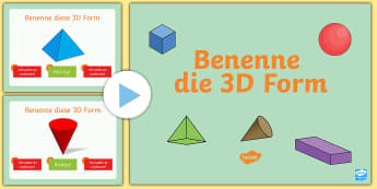 Benenne die 3D Form Quiz PowerPoint - Benenne die 3D Form, PowerPoint Quiz, PowerPoint, Quiz, Test, multiple choice, Fragen, 3D Formen, pp