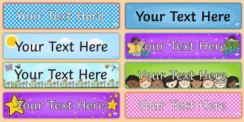 Classroom Display Banners - display, banner, editable