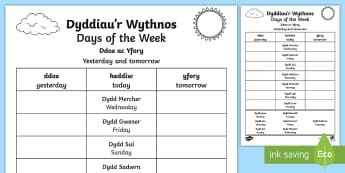 Days of the Week Yesterday and Tomorrow Worksheet / Activity Sheet Welsh/English - learners, second language, bilingual, cwrwicwlwm cymreig, language promise,Welsh-translation