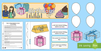 Our Birthdays Statistics Lesson Plan and Display Pack - NZ Statistics (Back to School), Statistical inquiry, lesson plan, year 1 maths, year 2 maths, our bi