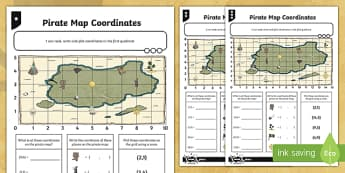 Map Coordinates Differentiated Worksheet / Activity Sheets - Position, direction, coordinates, map coordinates, co-ordinates
