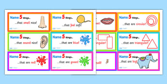 Name 5 Things Challenge Cards - name 5 things, name five things, name five things activities, name five things activity cards, naming game, name challenge