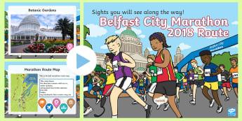 KS1 Belfast City Marathon 2018 PowerPoint - Belfast, City, Marathon, 2018, Northern Ireland, Running, Competition, Race