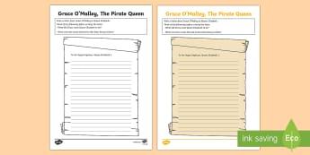 Grace O'Malley, Letter to Queen Elizabeth I Worksheet / Activity Sheet-Irish