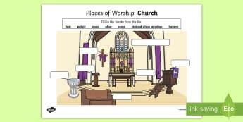 Places of Worship Church Activity Sheet - CfE Religious Education, places of worship, church,Scottish,worksheet