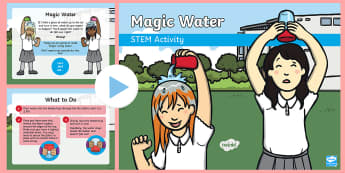 Magic Water PowerPoint - Make a splash!, STEM, KS1, Science, Experiment, magic, water, plastic cup.