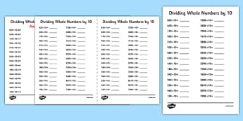Dividing Whole Numbers by 10 A5 Worksheet / Activity Sheet - dividing, whole numbers, by 10, activity, sheet, worksheet
