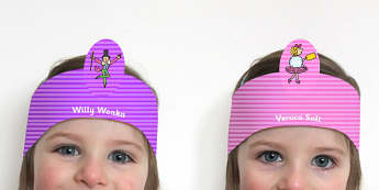 Role Play Headbands to Support Teaching on Charlie and the Chocolate Factory - roleplay