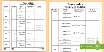 Place Value Activity Sheet English/French - Place Value Activity Sheet - place value, number worksheet, ks2 numeracy worksheets, tens and units,