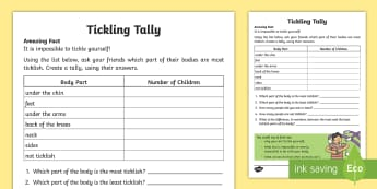 Ticklish Tally Activity Sheet - Amazing Fact Of The Day, activity sheets, powerpoint, starter, morning activity, January, ks1 amazin
