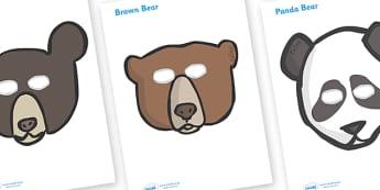 Bear Role Play Masks - Bear, bears, mask, role play, animal, polar bear, grizzly bear, brown bear