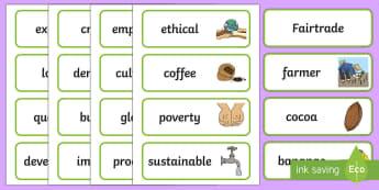 Fairtrade Word Cards - CfE Fairtrade, labels, display, farmer, crops, chocolate, bananas, fair trade, sustainable, sustaina