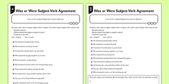 Was or Were Subject Verb Agreement Differentiated Activity Sheet Pack - GPS, past tense, present tense, local spoken, was and were, worksheet