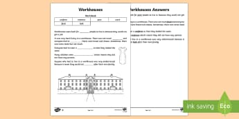 KS1 Workhouses Cloze Procedure Differentiated Activity Sheets - KS1 Workhouses , cloze procedure text, independent reading, comprehension, year 1, year 2, early rea