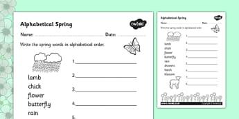 Spring Alphabet Ordering Worksheet - spring, order, alphabet, a-z