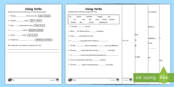 KS1 Using Verbs Differentiated Activity Sheet - national poetry day, english, writing poetry, y1 and y2, poems, worksheet