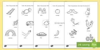 Digraph Coloring Activity Sheets - digraph, phonics, language, English, sounds, worksheet