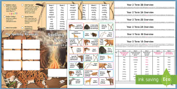 Year 3 Stone Age Themed Spelling Menu Pack - spag, gps, home learning, weekly, lists, test,