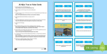 Al-Hijra True or False Cards Activity