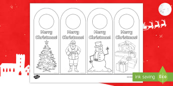 Merry Christmas Door Hanger Colouring Page - door Notices, Hanging Door Sign, Sign, Themed, Key Stage Two, KS2