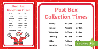 Editable Post Box Collection Times Display Sign - Key Stage One, Early Years Foundation Stage, Royal Mail, Mail, Letters, Cards, Role-Play, Delivery