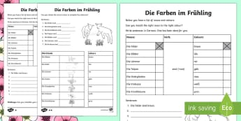 Spring Sentences Word Fill: Differentiated Activity Sheets German - Spring, Colours, Sentences, Basic phrases, German