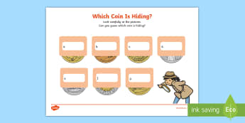 Which Coin Is Hiding? Worksheet / Activity Sheet - coins, identification, hide and seek, south african coins, observation activities
