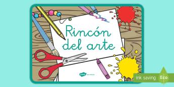 Pósters DIN A4: El rincón del arte - rincones, rincón, decoración de la clase, arte, plástica, dibujar, pintar, colorear,Spanish