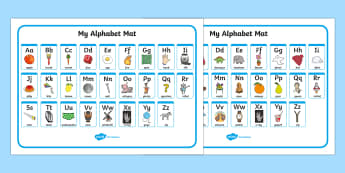 A-Z Alphabet Mat (Upper & Lowercase) - Alphabet Mat, DfES Letters and Sounds, Letters and sounds, Letters A-Z, Learning Letters, Phase one, Phase 1 Foundation Letters, Mnemonic images