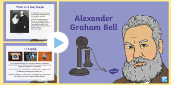 Alexander Graham Bell Information PowerPoint - alexander graham bell, telephone, inventions, information, significant individuals