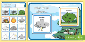 Weather and Season Display Poster Gaeilge - Seasons and weather poster, interactive resource, an aimsir, na séasúr, Irish