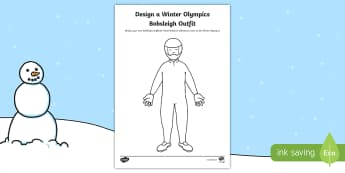 KS1, EYFS, Design a Winter Olympics Bobsleigh Outfit Worksheet / Activity Sheet - Winter, Olympic Games, sport suit, Colouring, Bobsled, worksheet