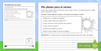 My Summer Holiday Structured Writing Activity Sheet Spanish - summer, holidays, future, tense, plans, structured, writing, worksheet, skills, end, term