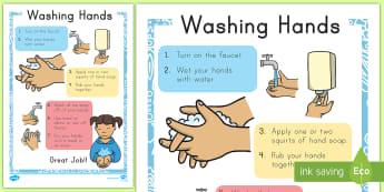 Washing Hands Display Poster - visual,aid, bathroom, hygiene, prompts