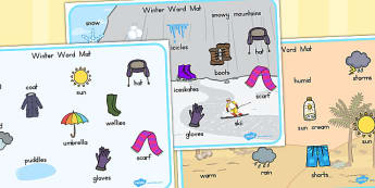 Winter Word Mat - weather, seasons, key words, visual aids
