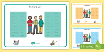 Father's Day Descriptive Word Mats - Father's Day, word, descriptive, mat, vocabulary, key words, writing aid, character traits, non-fic