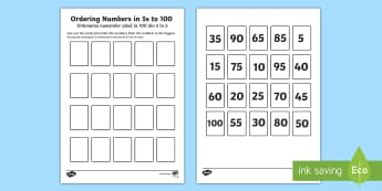 Ordering Numbers in 5s to 100 Activity English/Romanian - Priority Number Ordering Sheets, 5, multiple, 5x, 5 times, 5s, count, cut and stick, paste, eal.