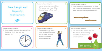 Time, Length and Capacity Problem Solving Challenge Cards - math, measurement, length, capacity, time, challenge cards, independent work