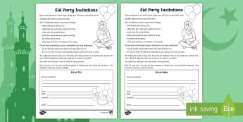 Eid Party Invitations Writing Template - Eid al-Fitr, Party, Planning, Invitations, Bahrain, Writing, Template