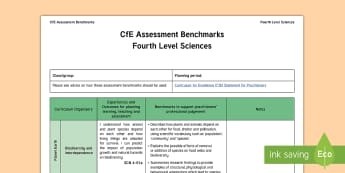 CfE Fourth Level Sciences Assessment Benchmarks Assessment Tracker-Scottish - CfE Benchmarks, tracking, assessing, progression, science, fourth level, curriculum for excellence,