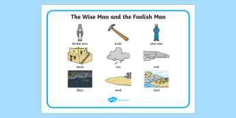 The Wise Man And The Foolish Man Word Mat - the wise man, the foolish man, wise, foolish, sand, rock, word mat, writing aid, mat, rain, houses, building, house, bible story, bible