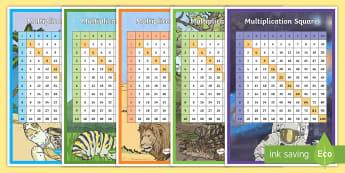 Multiplication Squares - multiplication, multiples, square, multiplication square, prompt, numbers, multiply, numeracy, KS2, Maths, table