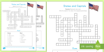States and Capitals Crossword - USA States, US States, United States, US Capitals, USA Capitals, US Capital Cities, USA Capital Citi