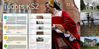 Imagine Tudors KS2 Resource Pack - clothes, ruin, discovery, palace, house, maths, perpendicular lines, tudor house count, fraction maz