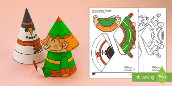 Simple 3D Cone Elf Bobble Head Christmas Activity Paper Craft English/Portuguese - elf, christmas, xmas, crimbo, craft, crafting, design, making, art, creative, activity, festive, toy