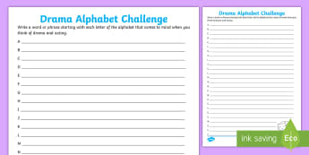 Drama Alphabet Challenge Activity Sheet - english, taxonomy, alphabetical order, acting, fun activities,Irish