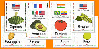 Fruit and Their Continents Cards - fruit, continents, cards, information